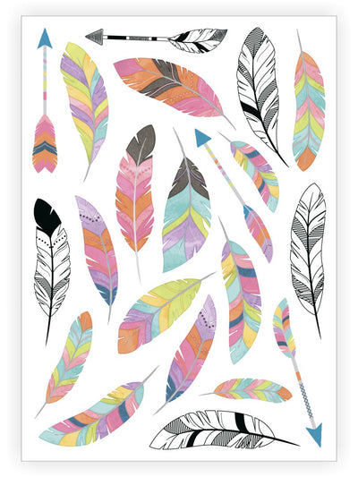 DUCKY STREET kids temporary Tattoo sheet Feathers designed by Pink Pueblo - 1