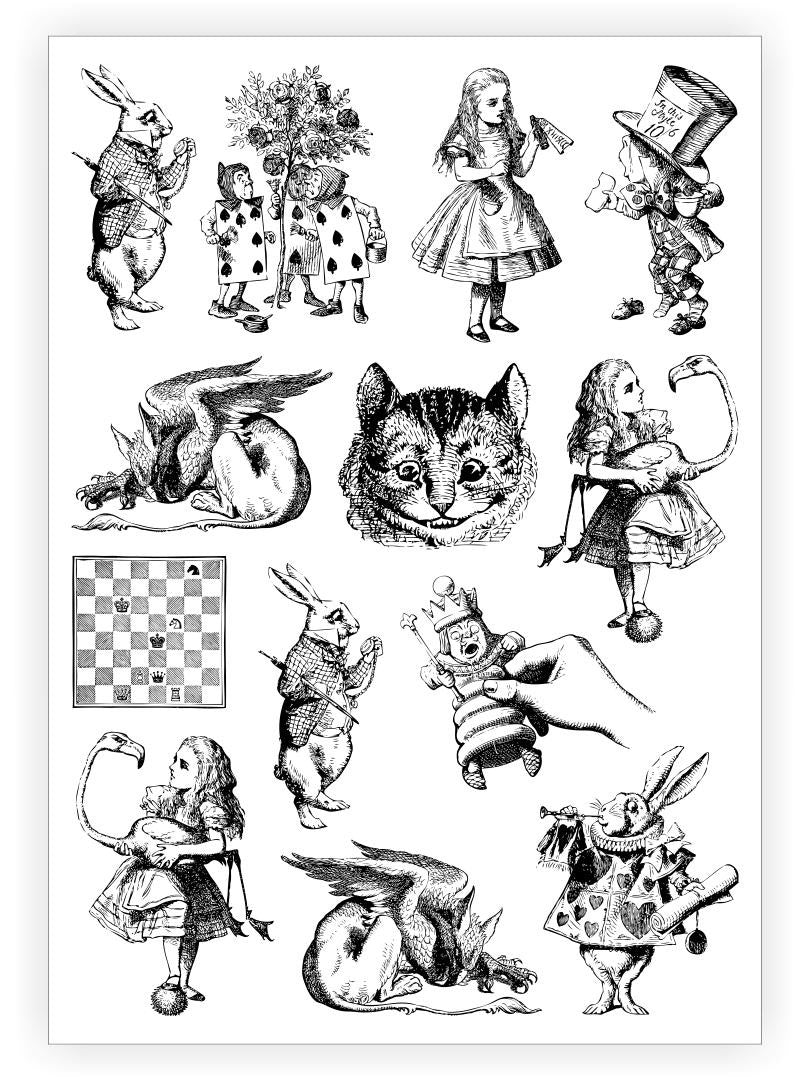 DUCKY STREET kids temporary Tattoo sheet Alice in Wonderland designed by John Tenniel - 1