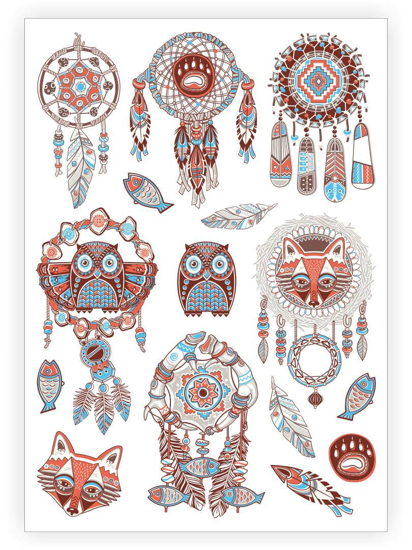 DUCKY STREET kids temporary Tattoo sheet Tribal designed by Mutovina Anastasya - 1