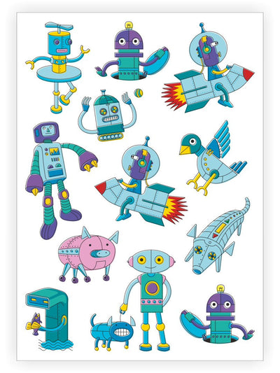 DUCKY STREET kids temporary Tattoo sheet Robots designed by Maria Kalyagina - 1