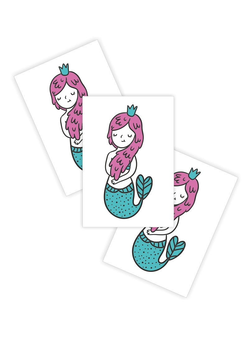 "Temporary tattoos ""Little mermaid"". Set of 3 princess mermaid kids tattoos by Ducky street"