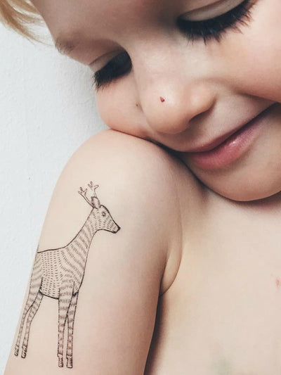 Unique black ink Deer temporary tattoo from Animals tattoo set. DUCKY STREET tattoos lover - tatted up boy with cute forest animal.