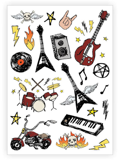 DUCKY STREET kids temporary Tattoo sheet Rock'n'Roll designed by Lemonade Pixel - 1