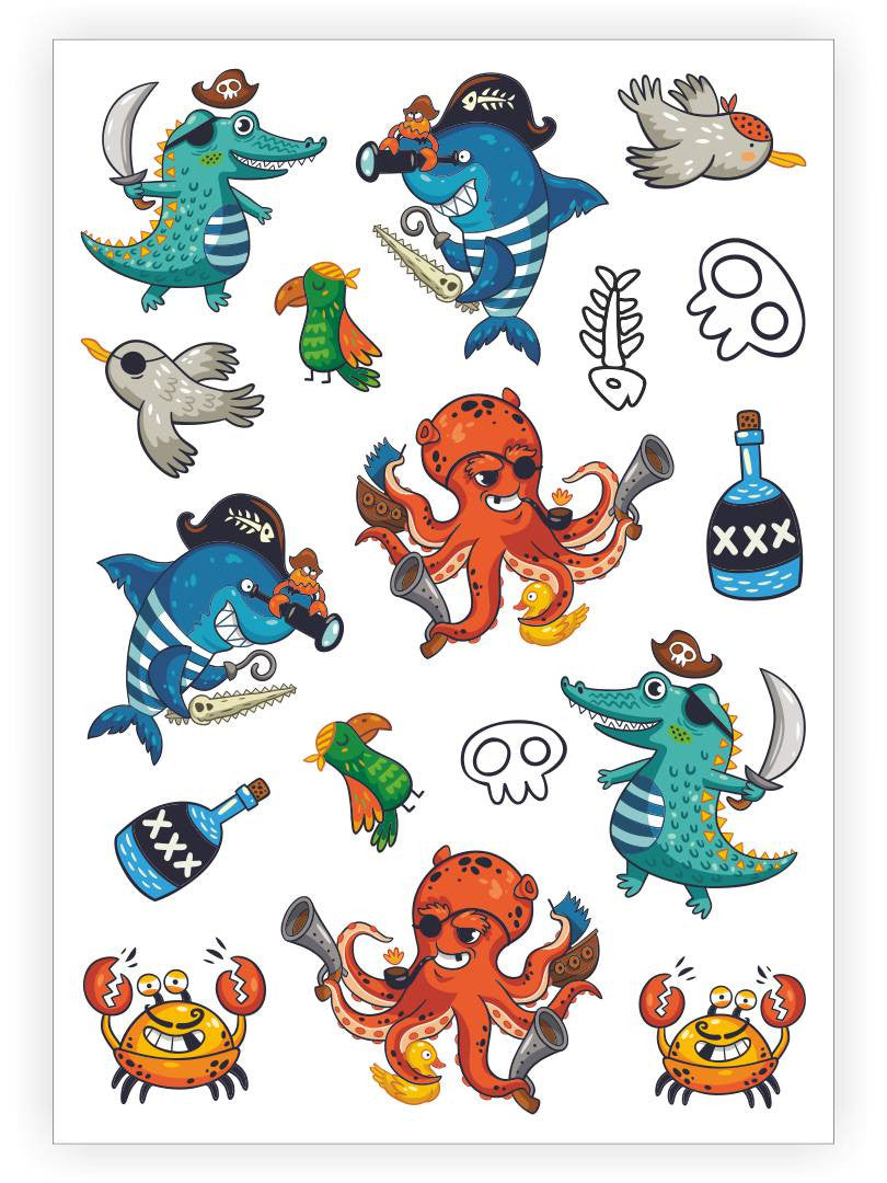 DUCKY STREET kids temporary Tattoo sheet Sea pirates designed by Mutovina Anastasya - 1