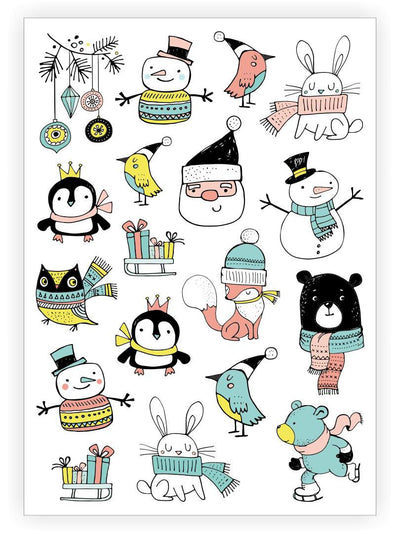 DUCKY STREET kids temporary Tattoo sheet Festive doodles designed by Marina Zlochin - 1