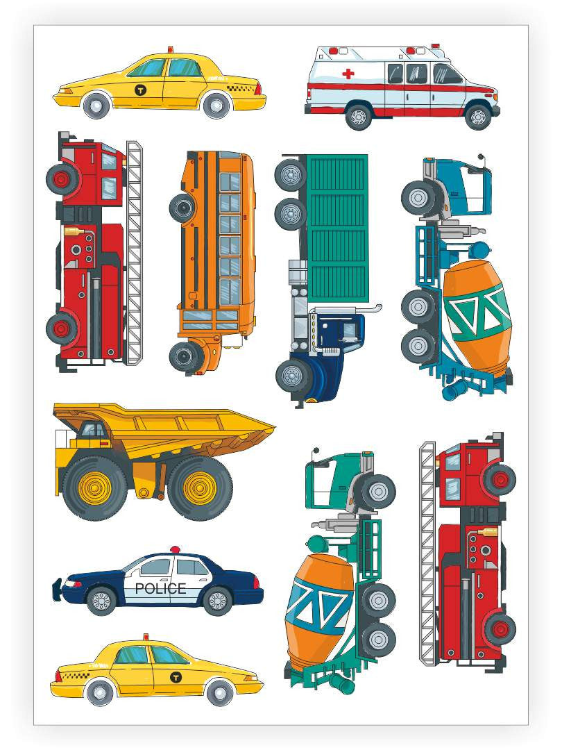 DUCKY STREET kids temporary Tattoo sheet Traffic designed by Maria Kalyagina
