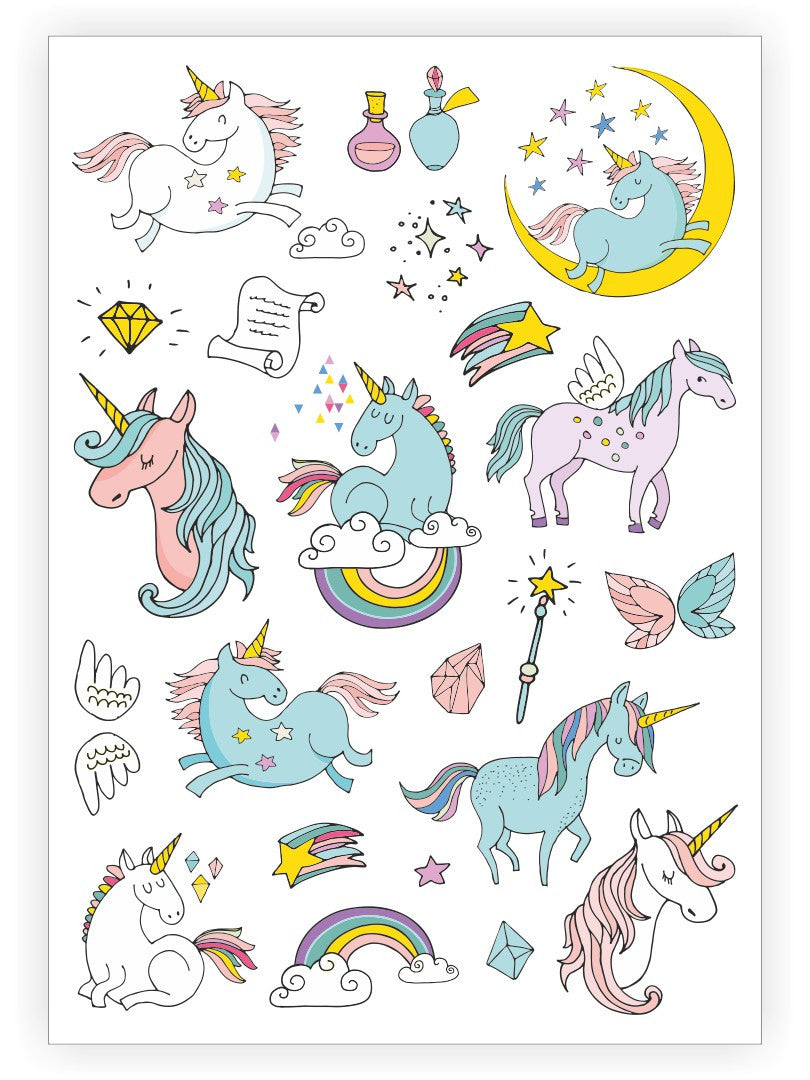 Temporary tattoos Unicorns. 9 unicorns + rainbow, stars and more magic kids tattoos by Ducky street