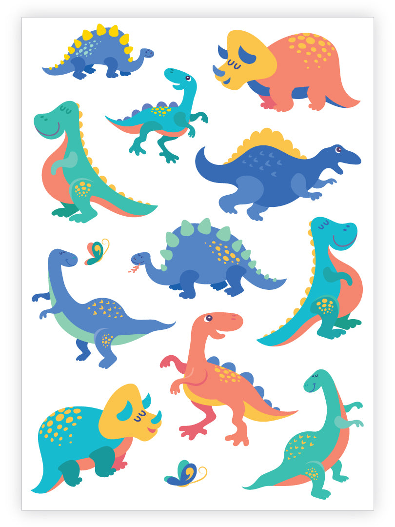 Dinosaurs temporary tattoos set from Ducky street. 11 cute dino tattoos and small butterfly. Rooaar for best dinosaurs birthday party favors.