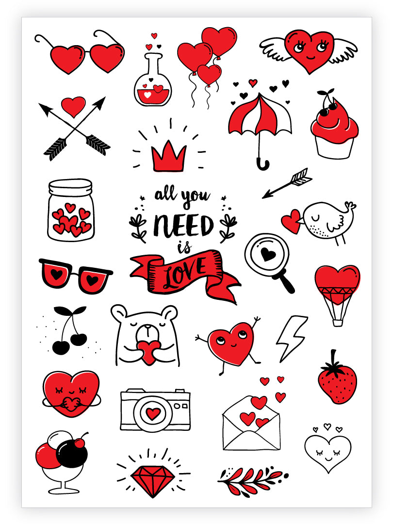 "Love temporary tattoos set with hearts, balloons, diamond, ice cream, cherry, arrows, umbrella, cupcake, bear, envelope, sunglasses, bank, bird, crown, lightning, camera, strawberry, heart with wings and ""All you need is love"" lettering temporary tattoos."