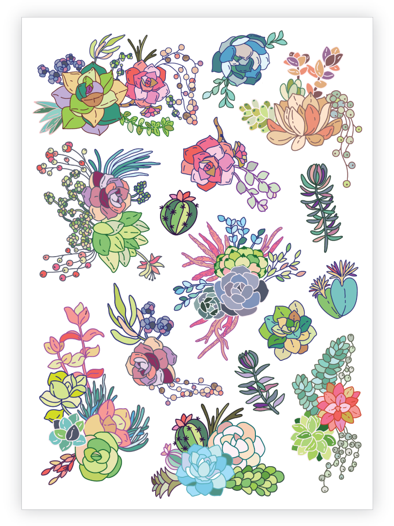 Succulents Temporary Tattoos Set Of Body Stickers Duckystreet