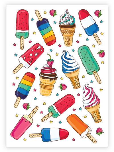 Ice creams temporary tattoos for kids set with soft serve, popsicle, waffle cone and more by Ducky street