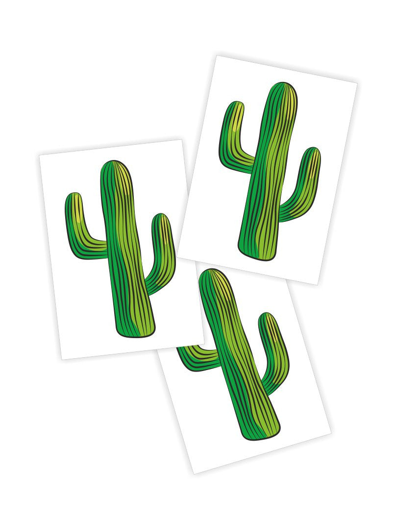 Temporary tattoos Cactus. Set of 3 cacti succulent kids tattoos by Ducky street