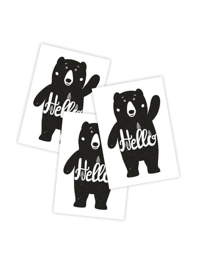 "High quality temporary tattoos «Hello bear» by Ducky street with funny monochrome black bear and white ""Hello"" lettering. Free worldwide shipping."