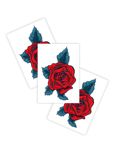 High quality temporary tattoos «Fancy rose» by Ducky street with retro style red roses stick on tattoos. Free worldwide shipping.