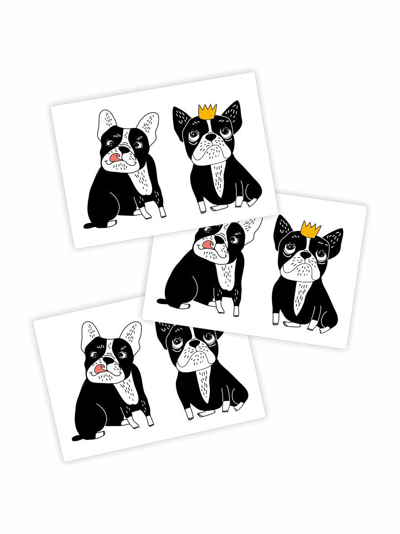 High quality temporary tattoos «Bulldogs» by Ducky street with lovely bulldog princess with crown and her bulldog friend