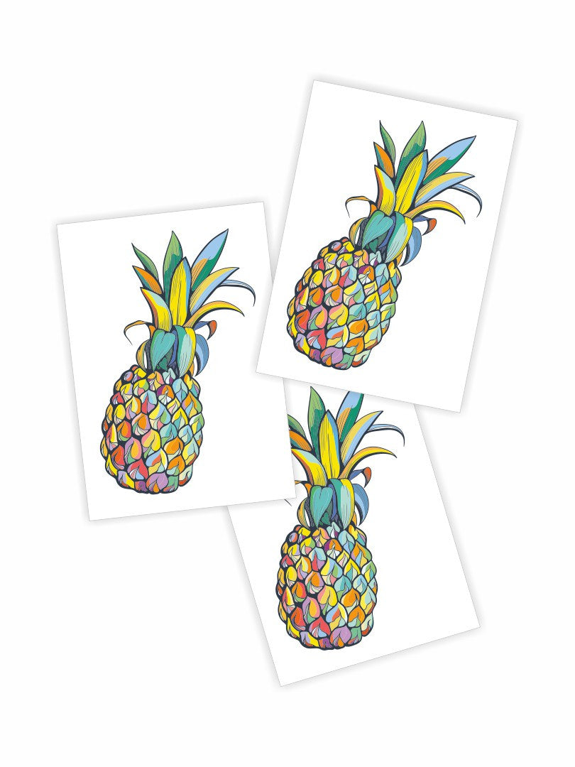 "Temporary tattoos ""Juicy pineapple"". Set of 3 tropical fruit tattoos by Ducky street"