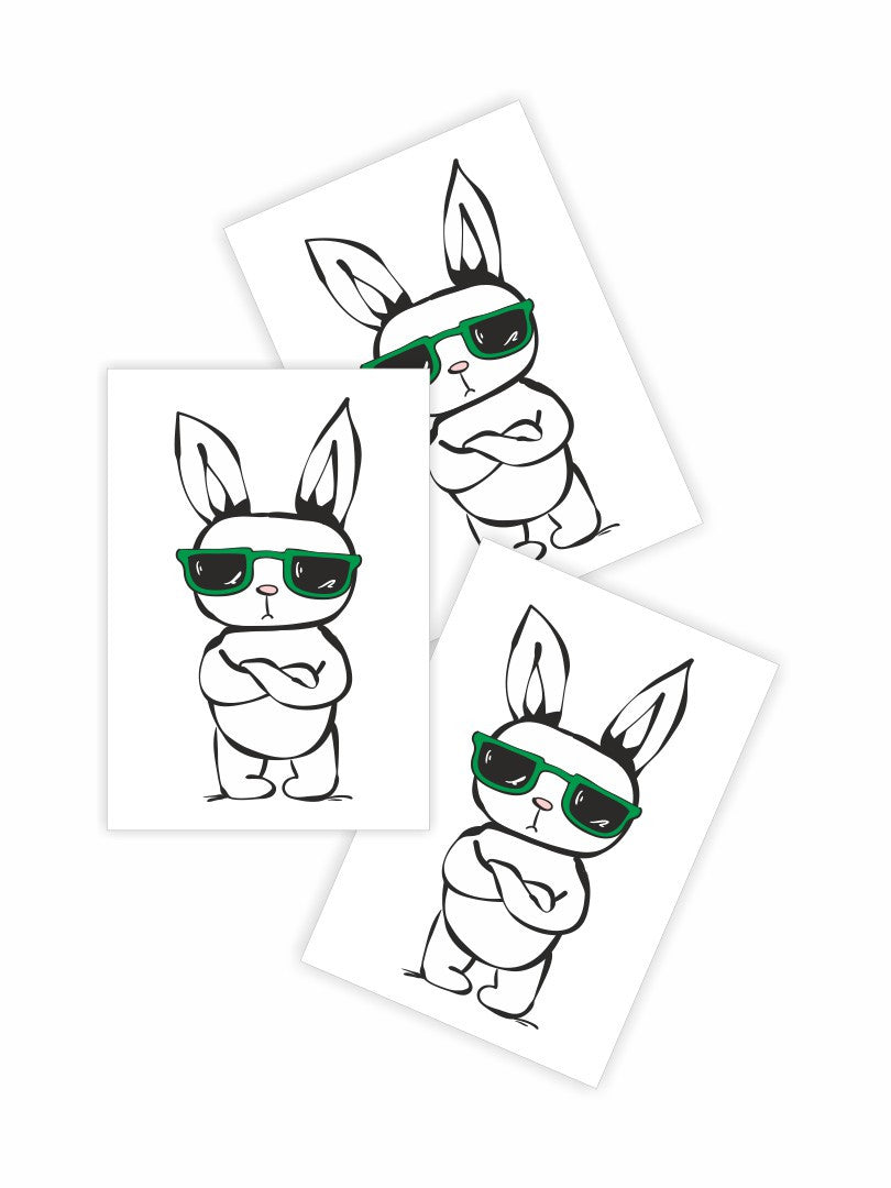 High quality temporary tattoos «Rad rabbit» with hipster style white bunny wearing green sunglasses by Ducky street. Free worldwide shipping.