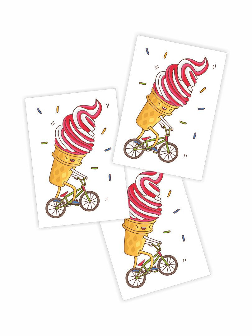 Temporary tattoos BMX ice cream. Set of sundae riding bike tattoos.