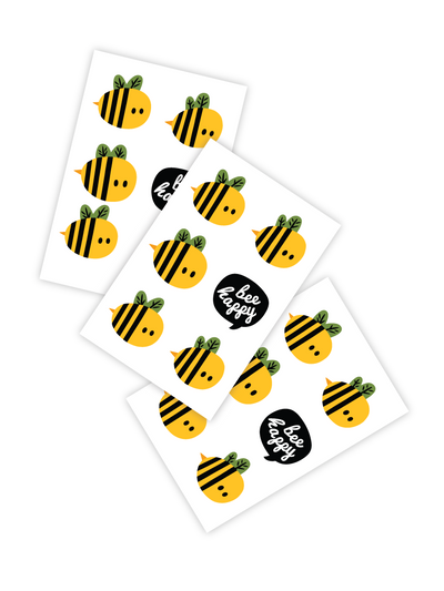 Temporary tattoos Bee happy. Set of 3 honey bees tattoos.