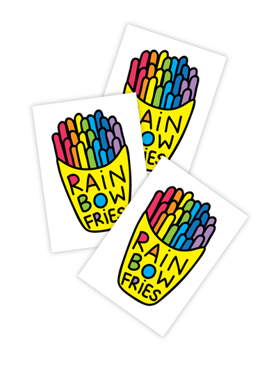 High quality temporary tattoos with oh so yummy rainbow french fries made from fresh rainbows with help of magic. Made in collaboration with Thailand designer Chacha Ramnarong.