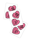 Girl gang and bad ass babes club pink hearts temporary tattoos