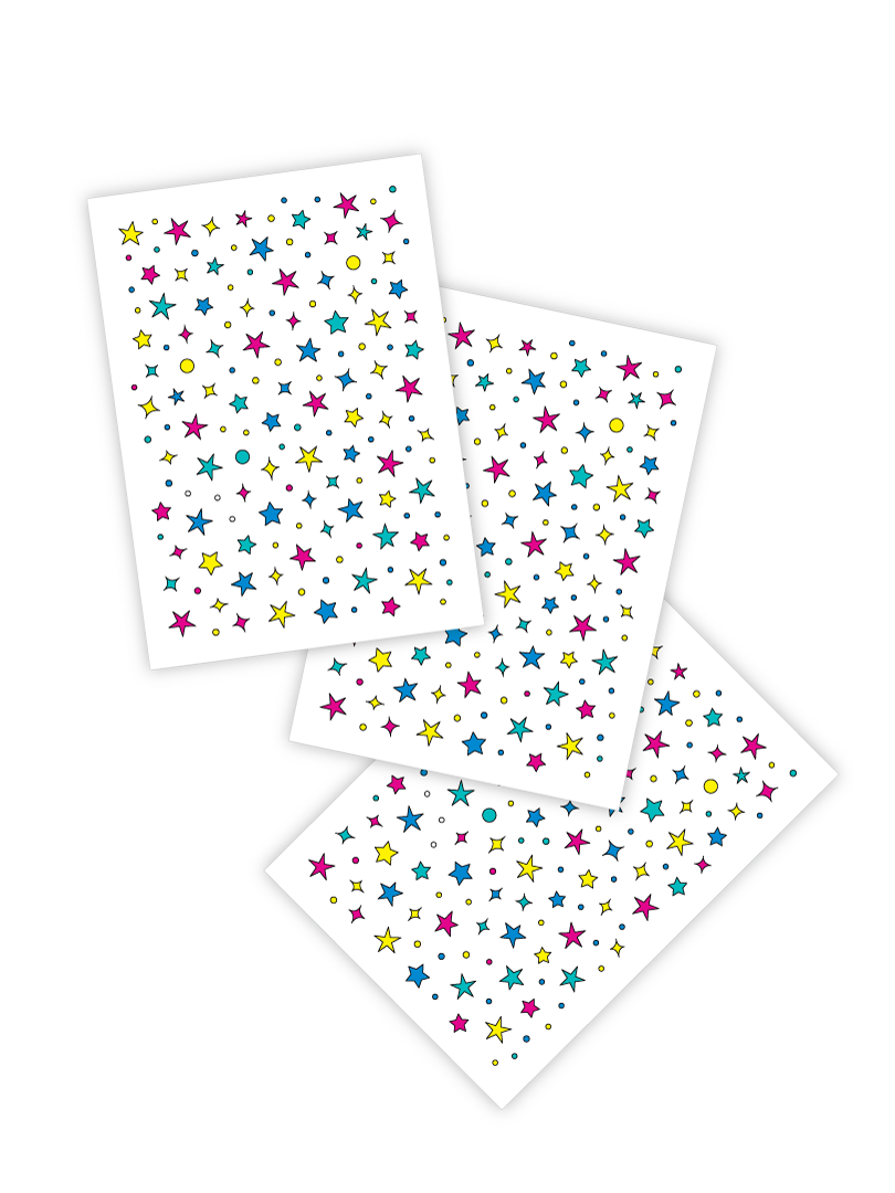 Star freckles temporary tattoos. Set of 3 tattoo sheets by Ducky street