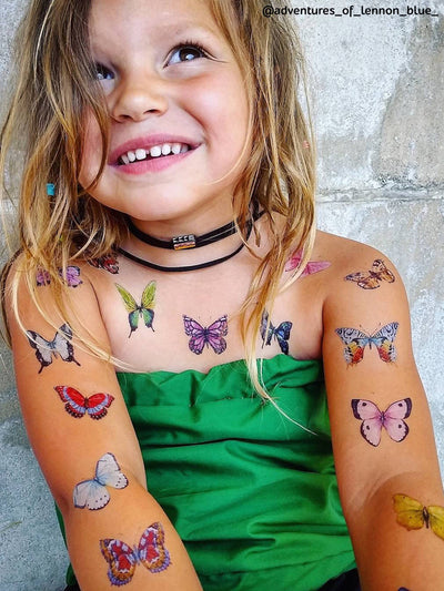 Beautiful hand drawn butterflies temporary tattoos for girls party and dress ups. Adorable kids body stickers with romantic butterflies.