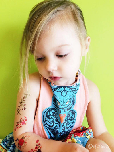 Gipsy style flower temporary tattoo sleeve for hip girls of all ages by Ducky street.
