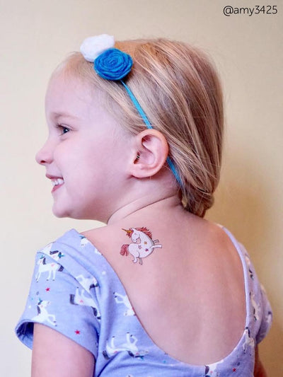 "Beautiful little unicorn temporary tattoo from magic kids body stickers set ""Unicorns"" from Ducky street. Share your love."