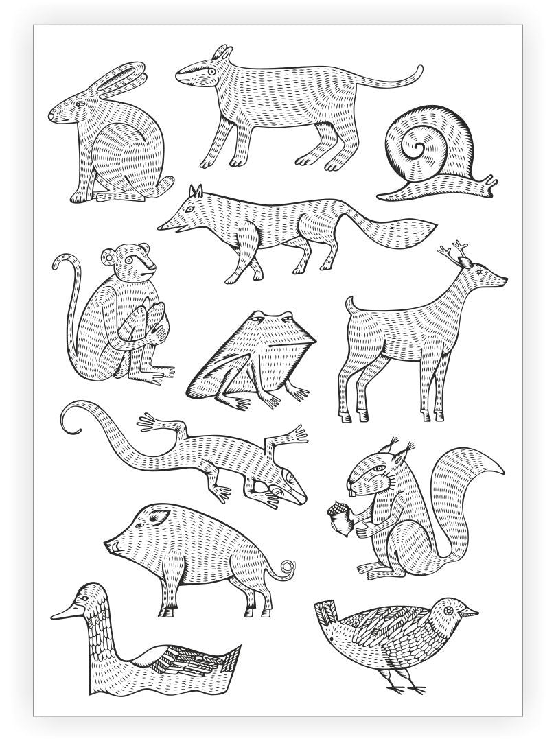 DUCKY STREET kids temporary Tattoo sheet Animals designed by Maria Kalyagina - 1