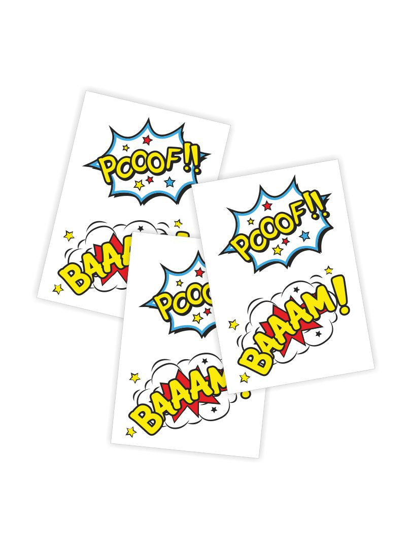 Temporary tattoos Baaam! Set of 6 comics bubbles tattoo stickers. Skin safe and non toxic kids friendly tattoos by Ducky street.