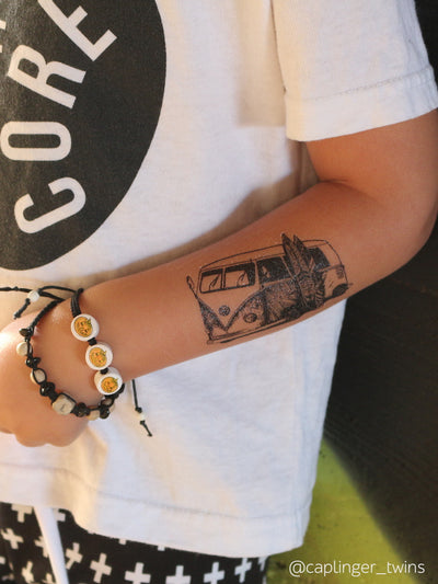 Old school Volkswagen T1 hippie van high quality temporary tattoos. Retro style for modern kids.