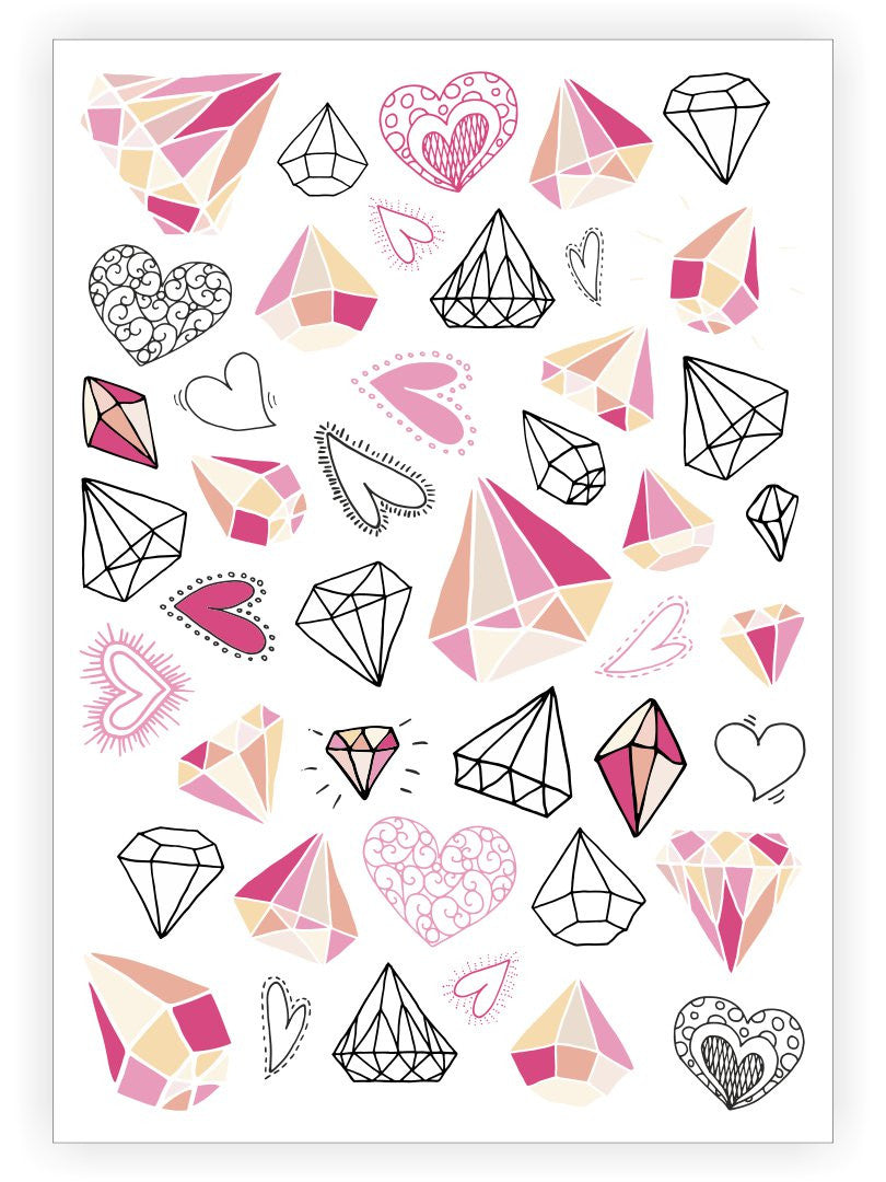 DUCKY STREET kids temporary Tattoo sheet Diamonds designed by Amy Ellks - 1