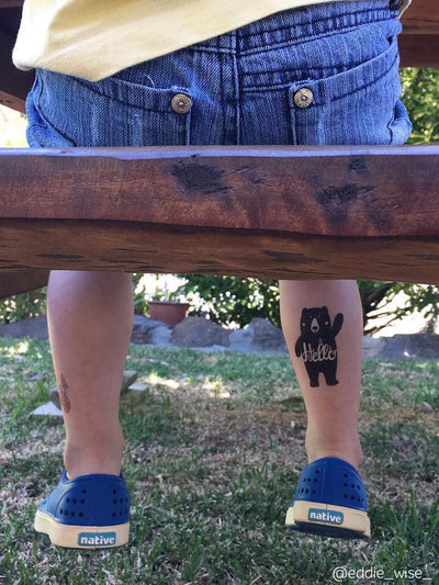 DUCKY STREET kids temporary Tattoo Hello bear designed by July Milks - 2