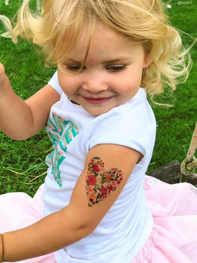 Heart shaped florals temporary tattoo by Ducky street