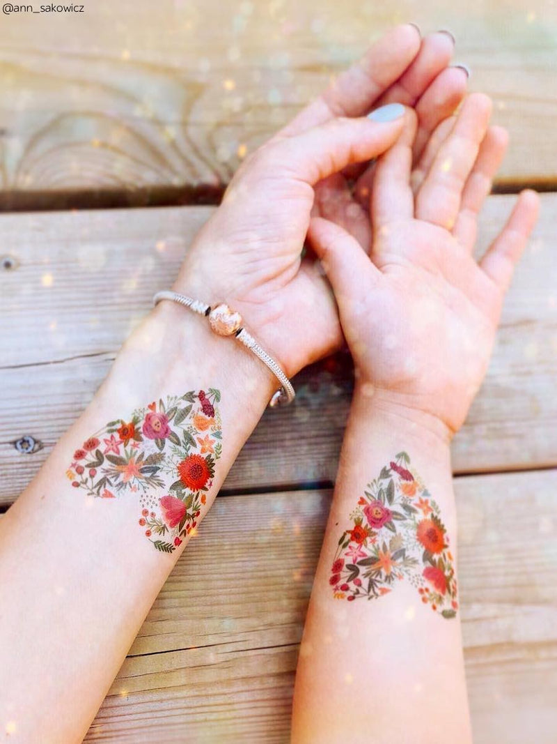 High quality temporary tattoos «Fower heart» with heart shaped flower pattern. Romantic sticker tattoos for Wedding, Bachelorette party or just lovely day. Skin safe and non toxic kids friendly tattoos by Ducky street.