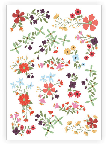 DUCKY STREET kids temporary Tattoo sheet Flowers designed by Pink Pueblo - 1