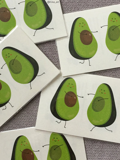 Avocado fruit high quality temporary tattoos