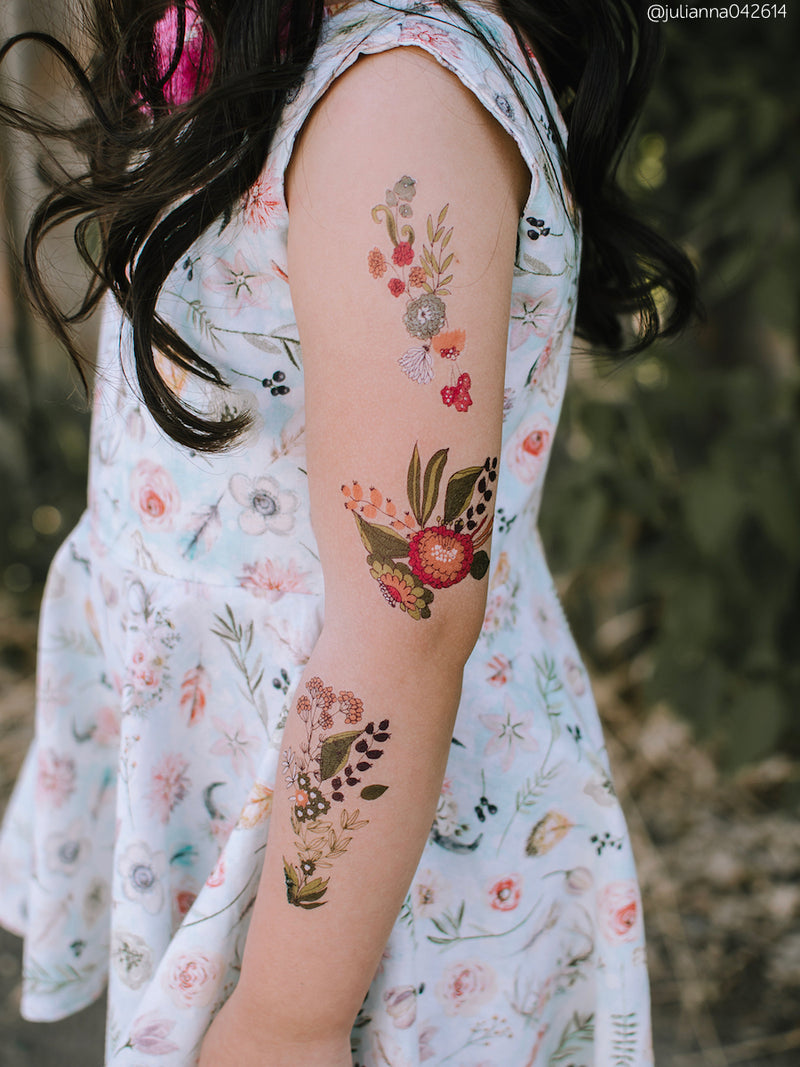 Temporary tattoos Gentle flowers. Set of 11 floral bouquets tattoos by Ducky street