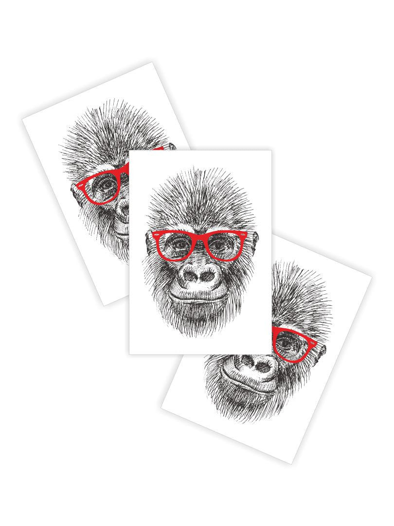 "Temporary tattoos ""Hipster gorilla"". Set of 3 hip tattoo stickers. Designed by A. Lembrik, made by DUCKY STREET"