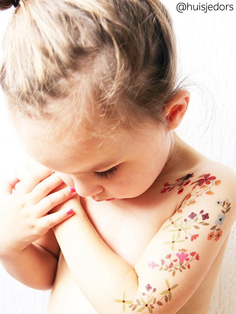 "DUCKY STREET temporary tattoos set ""Flowers"" designed by Pink pueblo. Floral blossom sticker tattoos for kids and adults."