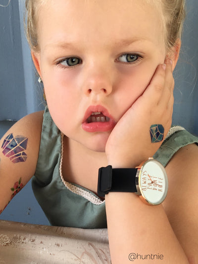 Watercolor diamonds kids temporary tattoos.
