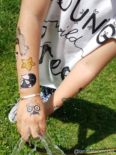 Lama, star, fox, owl kids tattoos from big Sweet doodles scandinavian style temporary tattoos by Ducky street