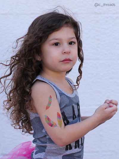 DUCKY STREET kids temporary Tattoo sheet Feathers designed by Pink Pueblo - 4