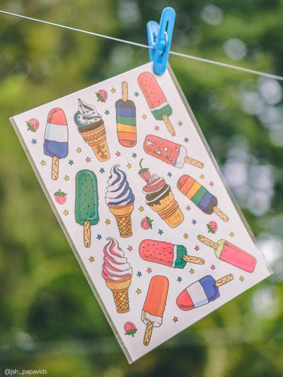 Ice cream birthday party favors: bi set of kids temporary tattoos by Ducky street