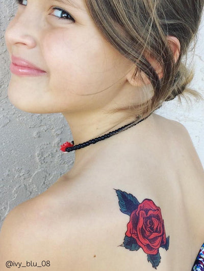 DUCKY STREET kids temporary Tattoo Fansy rose designed by Melissa de Nobrega - 2