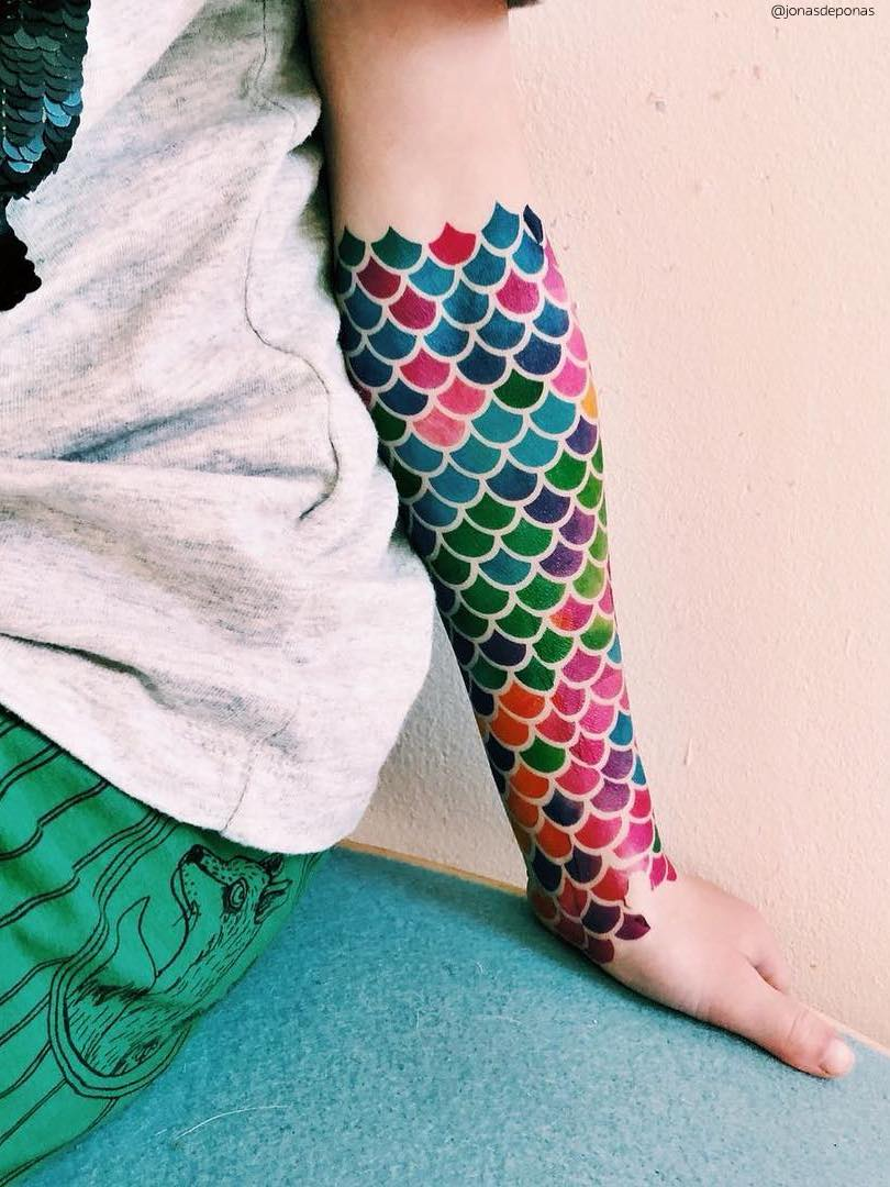 Mermaid scales temporary tattoos. Big set of watercolor fish scales body art fake tattoos by Ducky street.