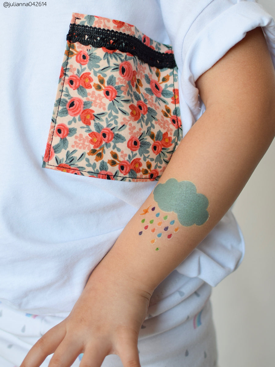 DUCKY STREET kids temporary Tattoo Cloud designed by Pink Pueblo - 1