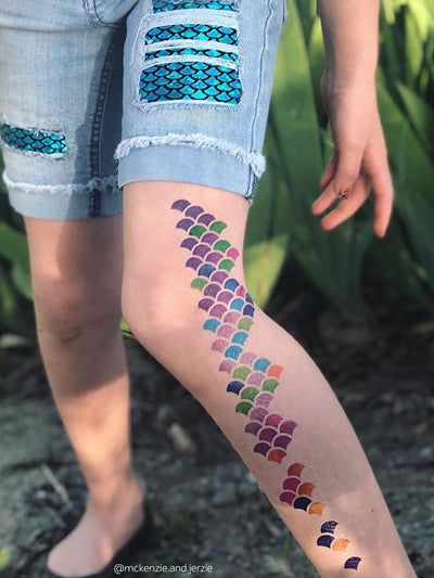 Go mermaid with ducky street rainbow watercolor scales temporary tattoos