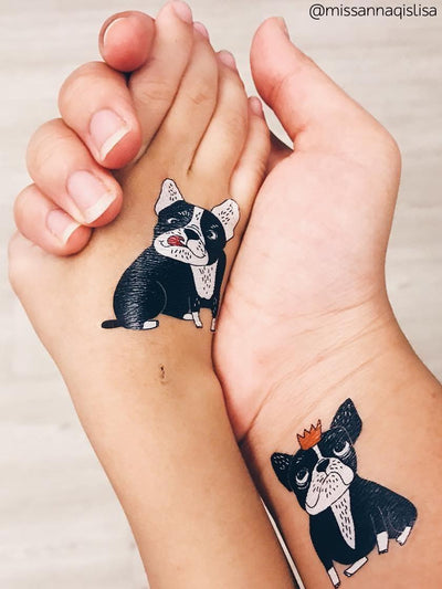 High quality temporary tattoos Bulldogs. 2 hand painted bulldogs - girl and boy. Create matching style with your bestie.